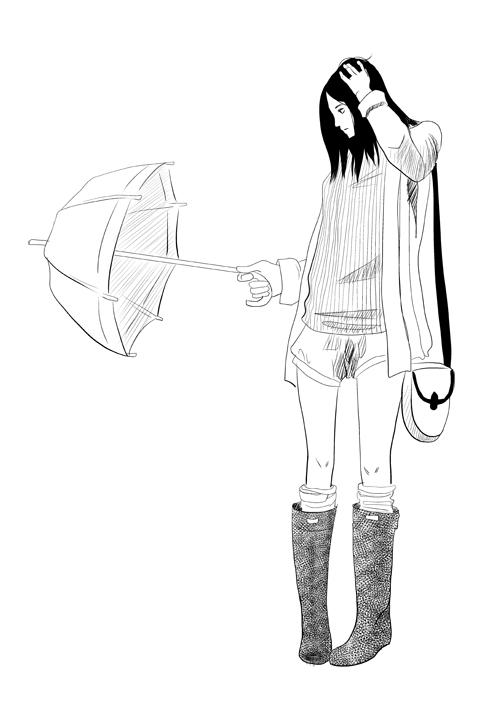 inktober16-girlwithumbrella